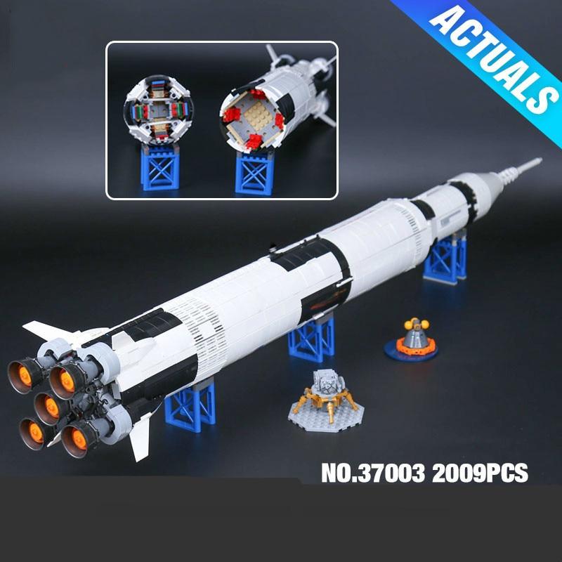37003 1969Pcs Creative Series The Apollo Saturn V Launch Vehicle Set Children Educational Building Blocks Bricks Toy 21309 apollo ru bun lock children puzzle toy building blocks