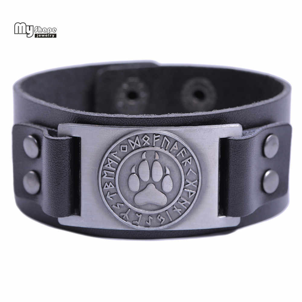 My Shape Viking Wolf Claws Viking Bangle Nordic Runes Bear Paw Bracelet Men Wristbands Genuine Leather Strap Bracelets Bangles