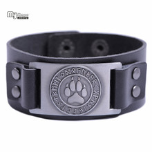 My Shape Viking Wolf Claws Bangle Nordic Runes Bear Paw Bracelet Men Wristbands Genuine Leather Strap Bracelets Bangles