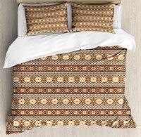 Nordic постельное белье Северной Стиль традиционный узор с скандинавским Винтаж Книги по искусству 4 шт. Постельное белье бежевый