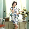 Free Shipping Top Grade Short Sexy Silk Cheongsams Dress Chinese Traditional Clothing Short Sleeve Dress Qipao SMYQP-G0006