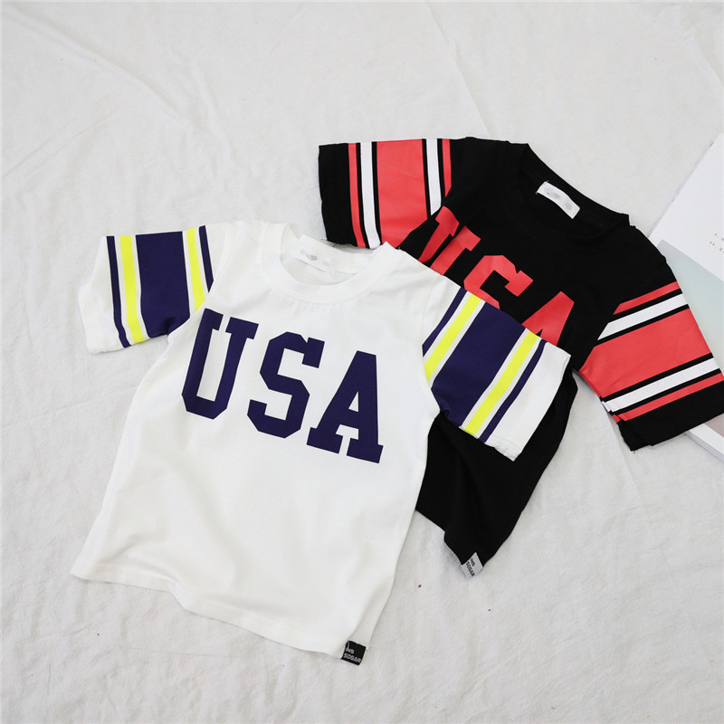 Clearance!!USA Letter Kids T-shirt for Boys Girls Children Tops American Baby Clothes Toddler Summer Clothes Unisex T-shirt