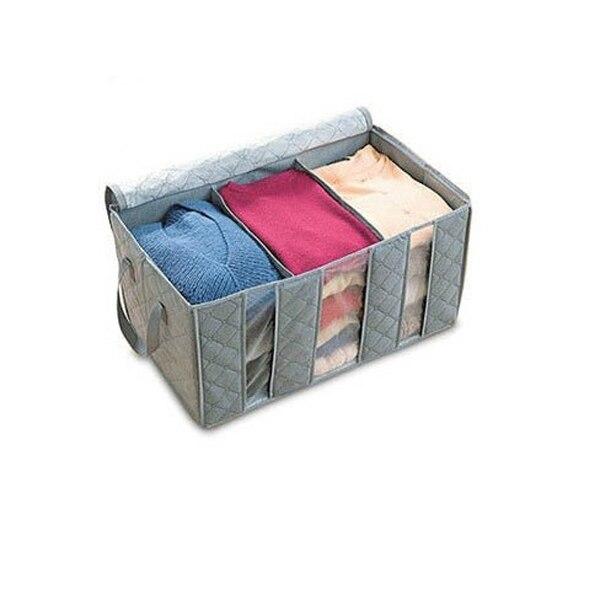65L складная Bamboo Уголь волокна главная Шкаф для хранения сумки организатор box Свитер Одеяло антибактериальные Одежда (Серый)