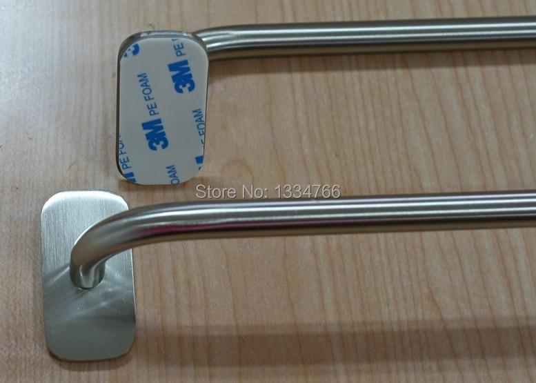 2pcs Self Adhesive Br Towel Bars Sticky Single Rails