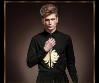 Free Shipping New Fashion Personality Male Men S Long Sleeved Mens Black Suit Embroidered Shirt Color