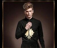 אישיות אופנה חדשה משלוח חינם חליפה שחורה גברים חולצה רקומה עם שרוולים הארוך של גברים גבריים 14240 אביב צבע מחוייט