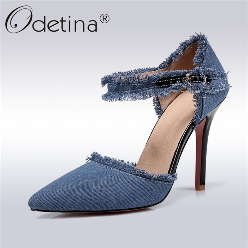 Odetina 2018 New Fashion Women Denim Pumps Buckle Strap Two Piece Stiletto High Heels Pointed Toe Summer Party Shoes Big Size 47 summer new large size denim shorts female high waist jeans thin 2017 new fashion women slim belly short pant
