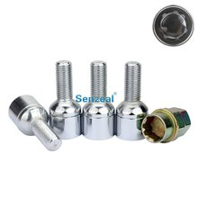 цена на Super Safety! M12 x 1.5 Anti theft Wheel Locking Lug Nuts with Security Key, Alloy Steel Car Wheel Screw Closed End Nut Silver