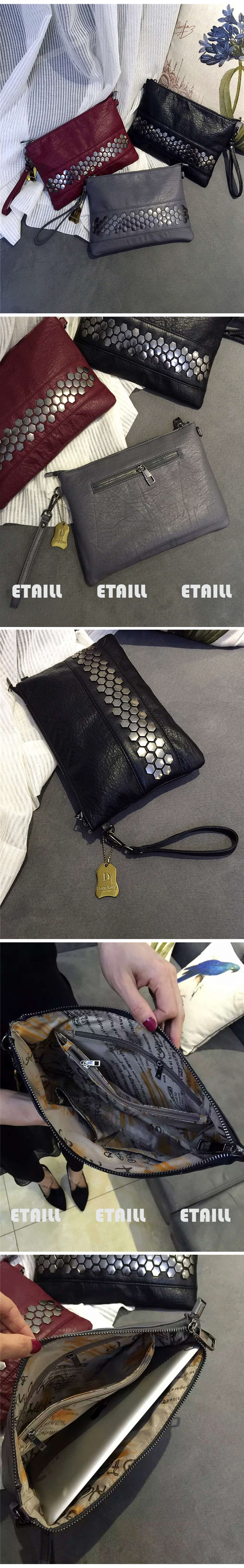 2016 Fashion Women\'s Black Studded Clutch Bags