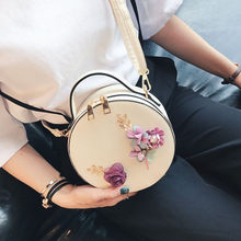 Unikatowa okrągła  torebka z kwiatami i koralikami 3D