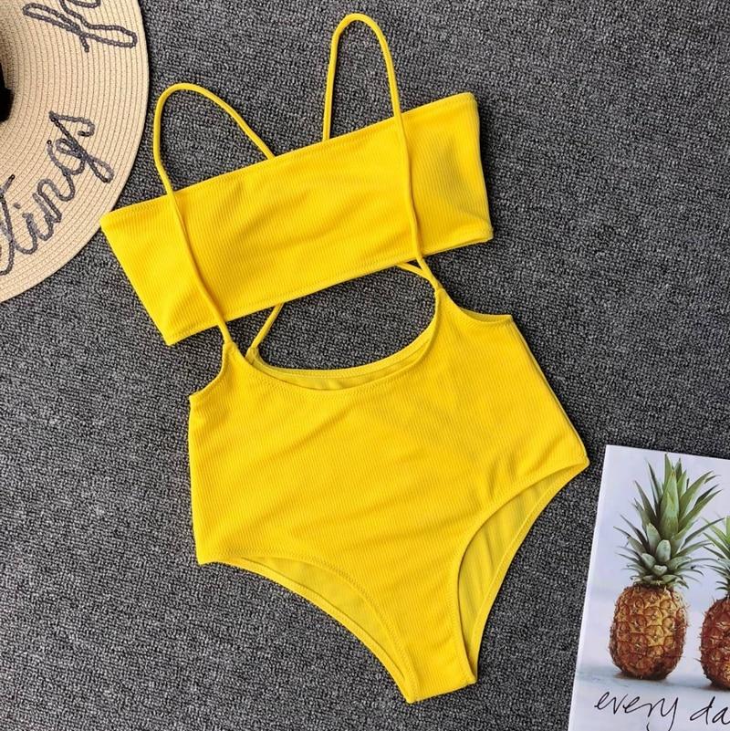 Yellow Swimsuit Women's Two Piece Ribbed Bandeau Top High Waist Slip Bikini Bottoms Padded Beachwear Bathing Suit Women Swimwear