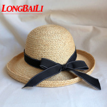 e8ba461f417 LongBaiLi Summer Coffee Raffia Straw Sun Bucket Hats For Women Dome Top  Beach Caps