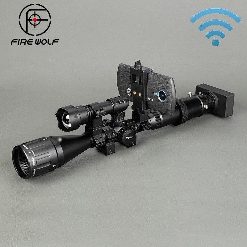 Senza fili di Visione notturna Esterna Scope Sight Optics Tattico Digitale A Infrarossi Con scatola di Connessione Del Telefono Torcia Elettrica Riflescope di Caccia