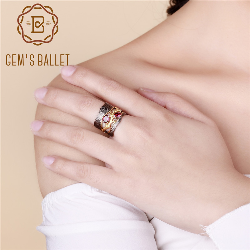 GEM'S BALLET 925 Sterling Silver Original Handmade Branch Rings Natural Rhodolite Garnet Gemstone Ring For Women Wedding Jewelry