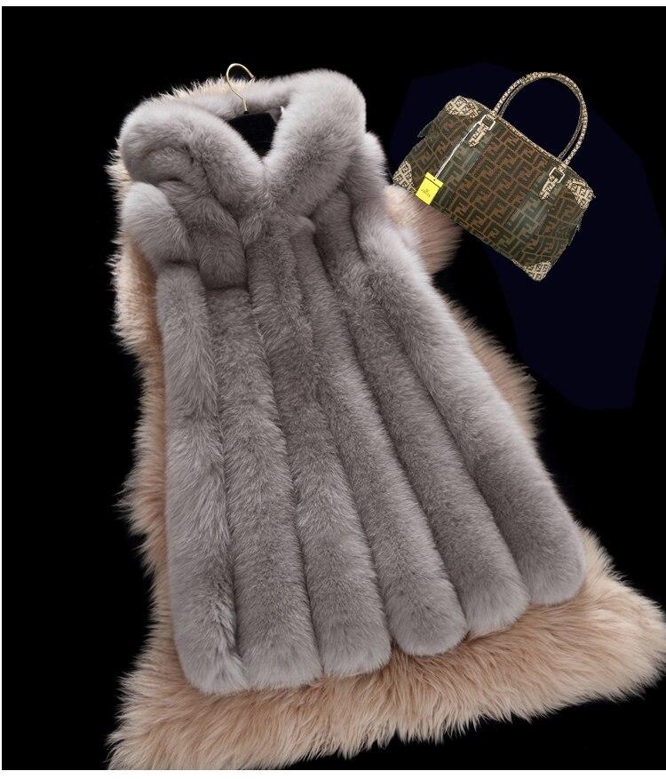 BFFUR Hot New Natural Fox Fur Long Vest Real Fox Fur Gilet Winter High Quality Women Fox Real Fur Coat BF V0281