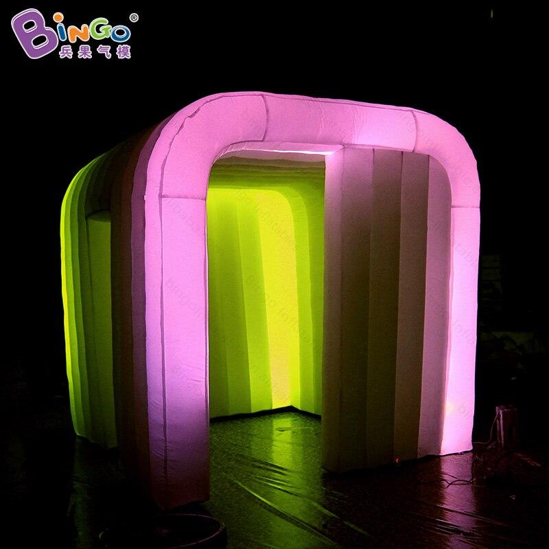 Бесплатная доставка 2.4x2.4x2.4 м светодиодный освещения надувные Photo Booth для продажи прочный надувные кабина Для свадебной вечеринки игрушка па...