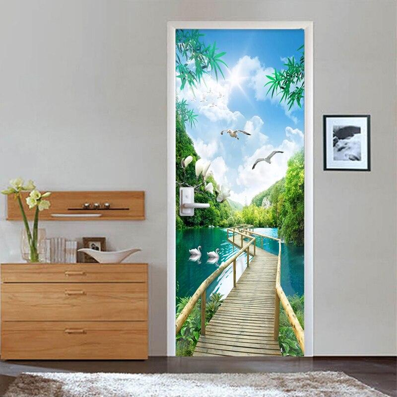 PVC Wallpaper 3D Nature Landscape Wood Bridge Door Sticker