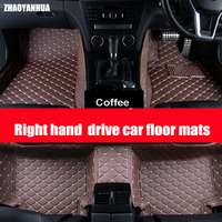 Right hand drive Custom fit car floor mats for Toyota Camry Corolla Mark X Crown Verso FJ Cruiser yaris L 5D carpet floor liner