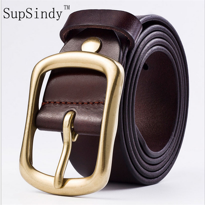 SupSindy men   belt   cowskin leather solid Copper Pin buckle   belts   for men Top quality Business Casual vintage Cowhide male strap