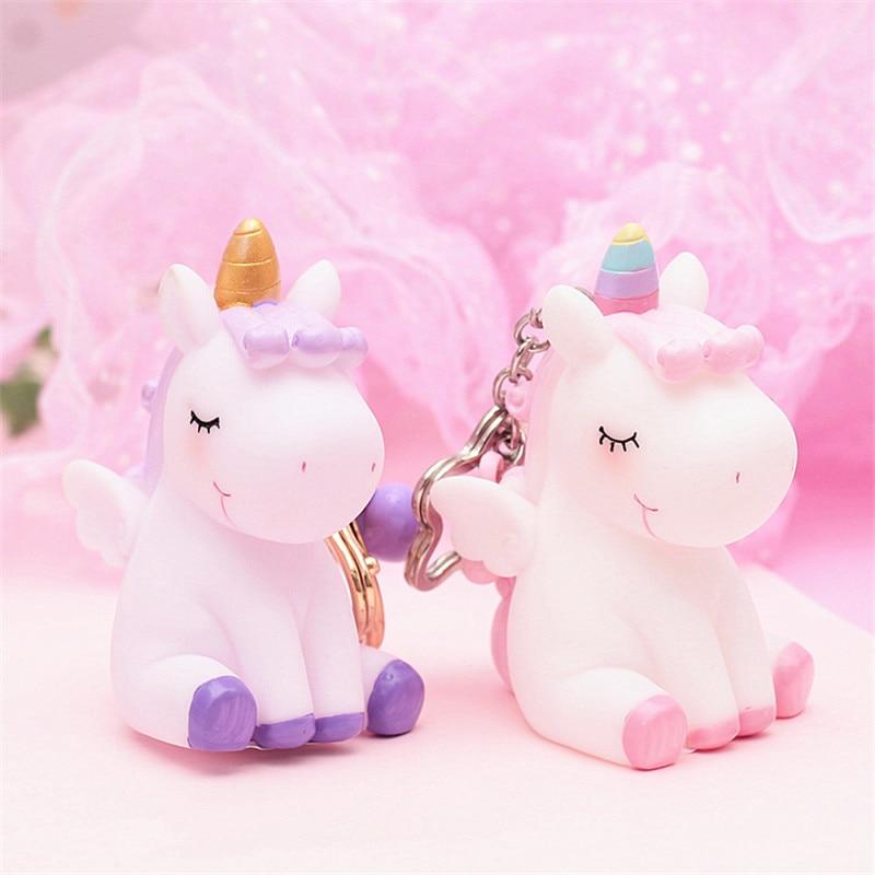 Creative Cute Unicorn Toy Keychain Rainbow PVC Animal Unicorn Squeeze Toys Shaped Pendant Gift For Children Toy