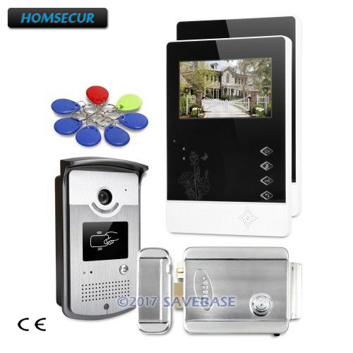 HOMSECUR 4.3inch Wired Video Door Phone Intercom System With Sensor-controlled White LED Lights + Electric Lock