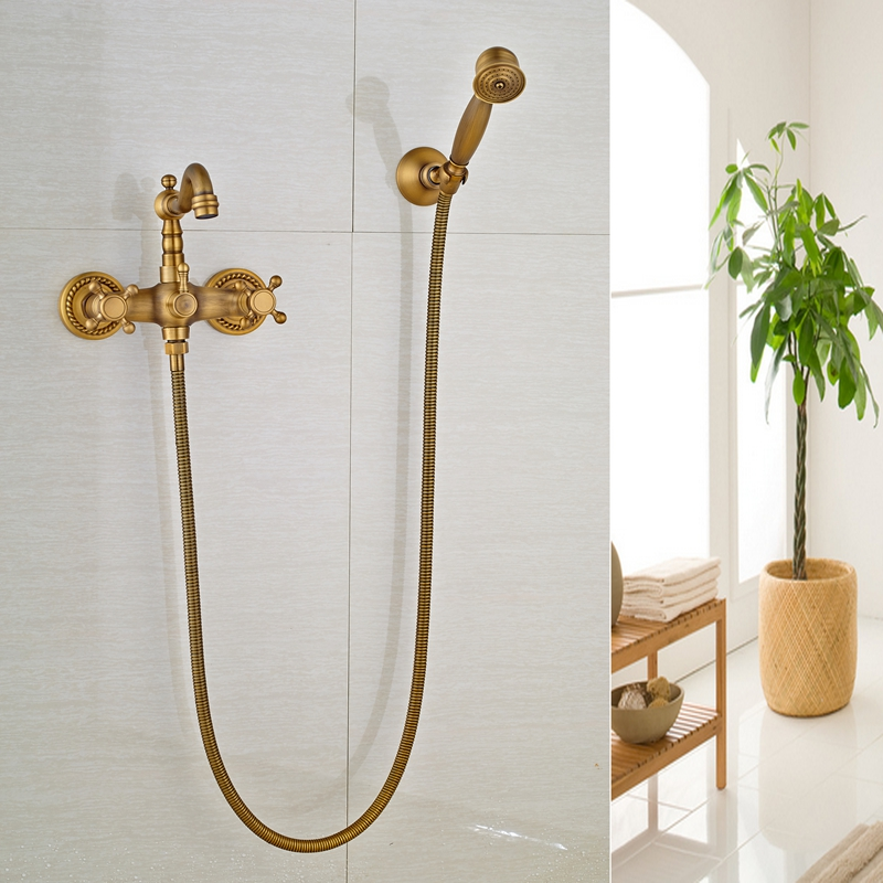 Modern Wall Monted Dual Handles Antique Brass Shower Swivel Faucet Mixer Tap antique brass swivel spout dual cross handles kitchen