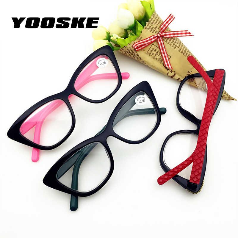 0317f36c702f ... YOOSKE Double light Reading Glasses Fashion Women Cat Eye Glasses for Reading  Hyperopia Presbyopia Eyewear Diopter