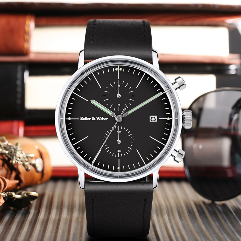 Keller & Weber Mineral Glass Men\'s Watches Luxury Chronograph Genuine Leather 30M Waterproof Sports Casual Male Clock Hour Gifts 2018 Quartz Wristwtaches (10)