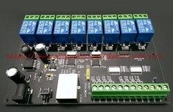 Gratis verzending 8 way network relais Ethernet/IP relais TCP/8 MODBUS in 8 out van de schakelaar hoeveelheid PLC vertraging