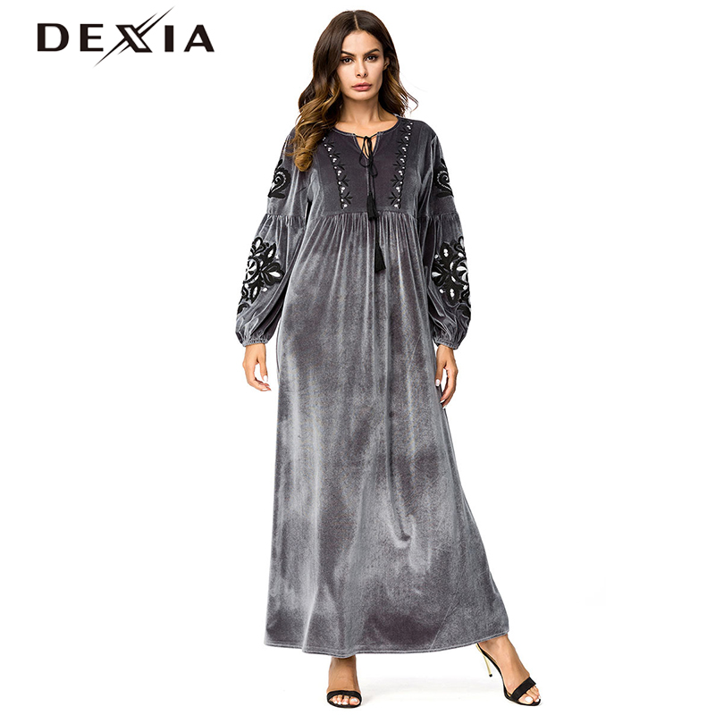 Dexia Tassel Robe Plus Size 3XL Dress Women Bohemian Full Sleeve Flower Spring Long Party Maxi Velvet Grey Lace Up Dress 7231