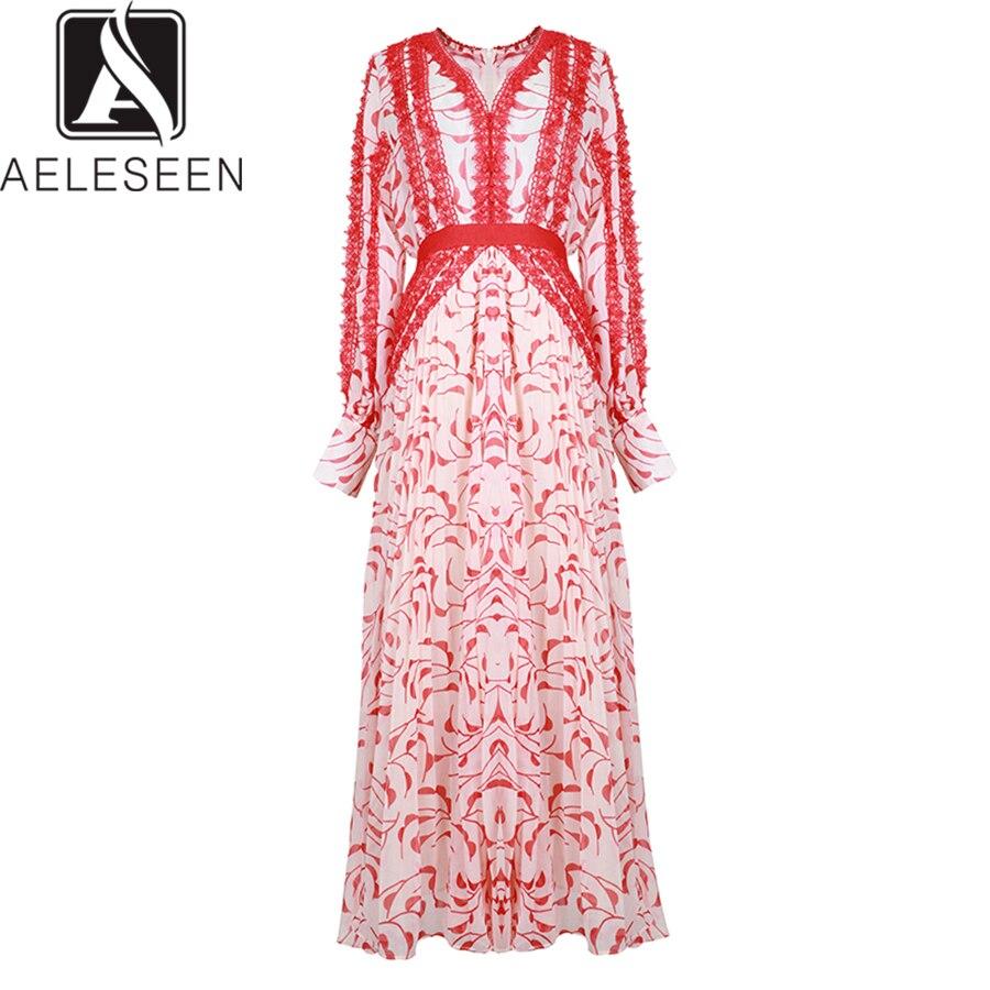AELESEEN Vintage 2019 Summer Long Dresses Women Luxury Lace High Class European Party Lantern Sleeve Ankle-Length A-Line Dress