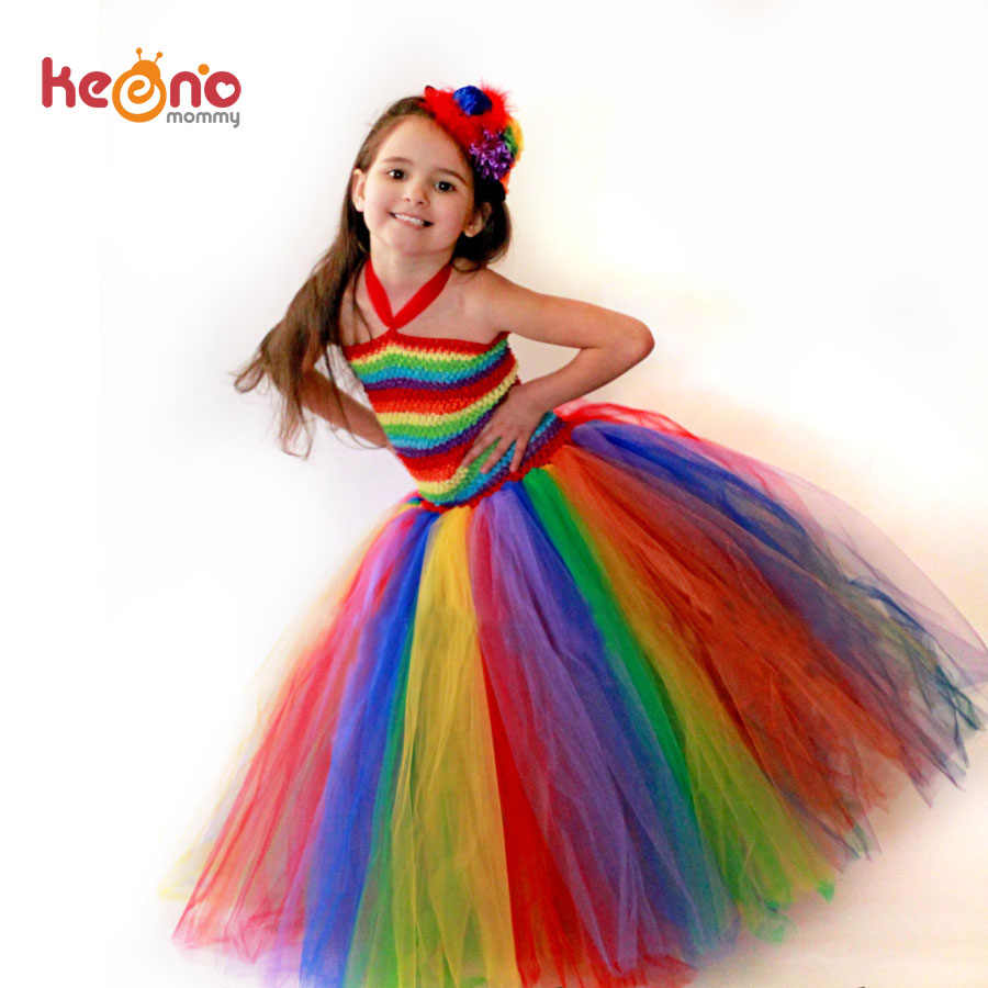 ba330da0c73 Keenomommy Girls Couture Rainbow Tutu Dress Kids Halloween Circus Clown Tutu  Dress Photo Props Birthday Costume