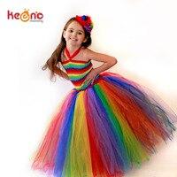 Keenomommy Girls Couture Rainbow Tutu Dress Kids Halloween Circus Clown Tutu Dress Photo Props Birthday Costume