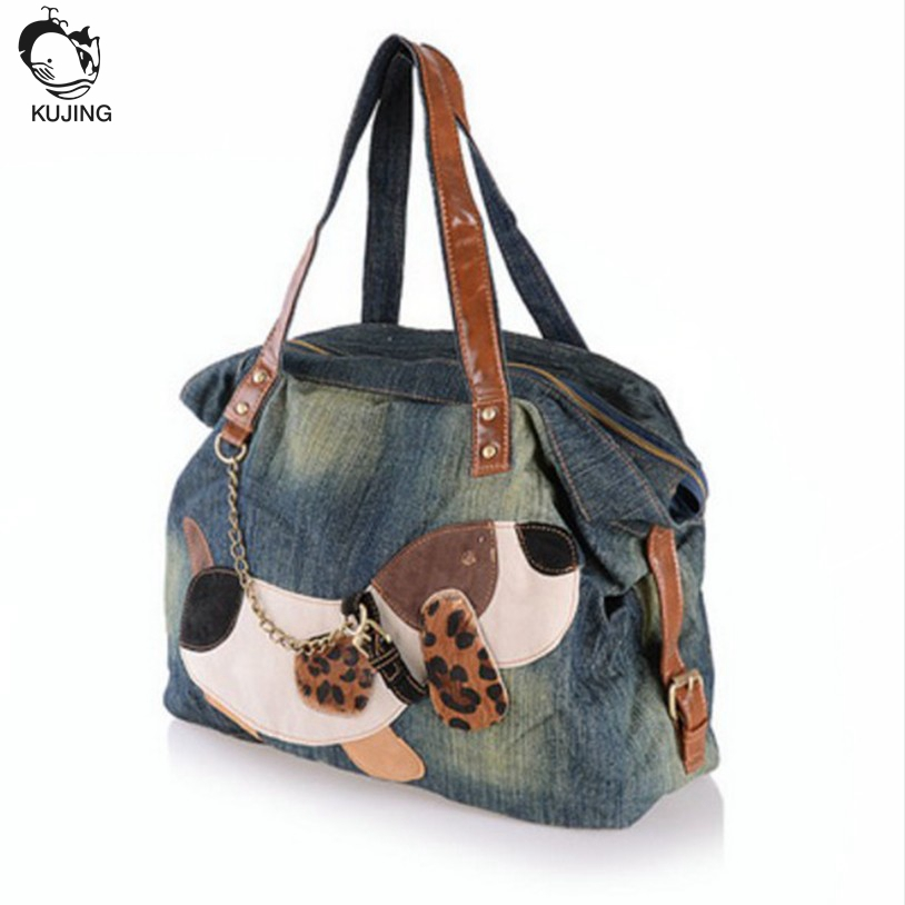 KUJING Handbag High Quality Denim Fabric Fashion Shoulder Women Bag Free Shipping Puppy Pattern Business Travel Casual Bag Women high quality authentic famous polo golf double clothing bag men travel golf shoes bag custom handbag large capacity45 26 34 cm