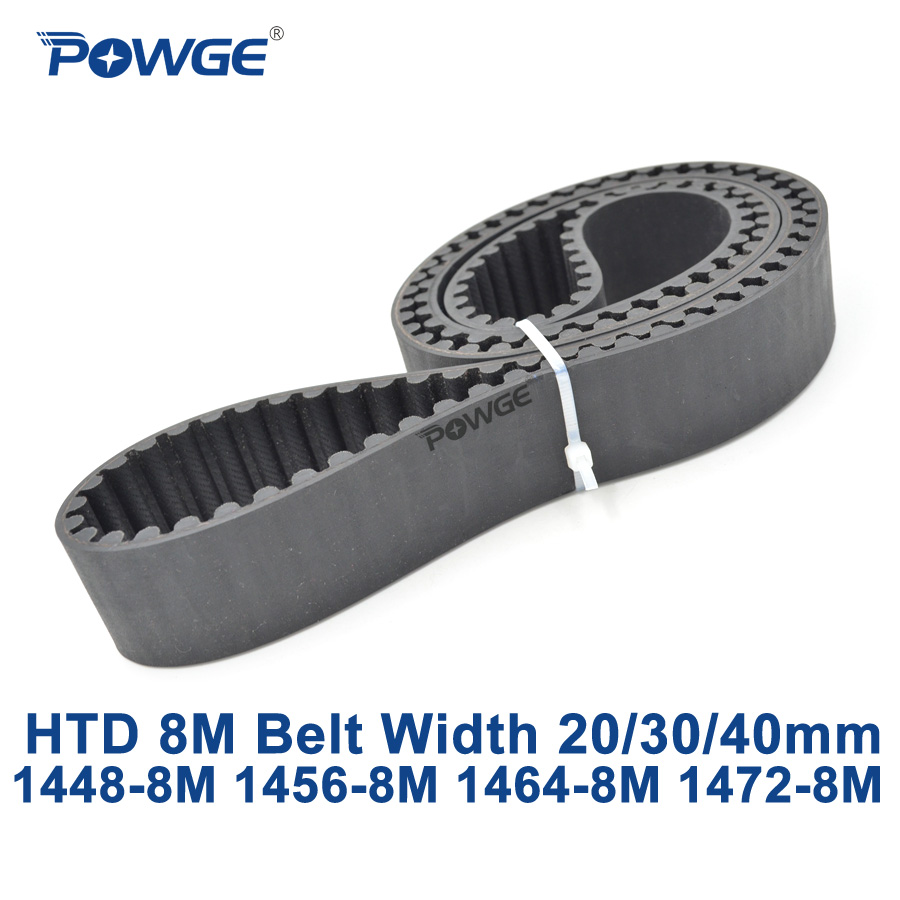 POWGE HTD 8M synchronous Timing belt C=1448/1456/1464/1472 width 20/30/40mm Teeth 181 182 183 184 HTD8M 1448-8M 1456-8M 1472-8M коврик для ванной iddis angora times цвет бежевый 70 х 120 см