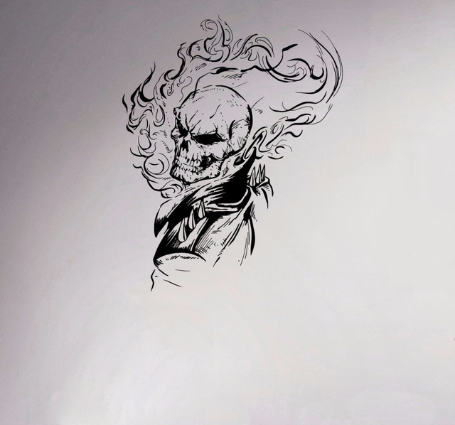 Ghost rider vinyl decal comics antiheroes wall sticker flaming skull home interior creative poster graphics bedroom