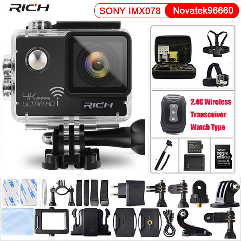 RICH Action Camera NT96660 True 4K 3840*2160P 24FPS Wifi 16MP remote control 170D Lens Mini Cam Waterproof Sports Camera ...