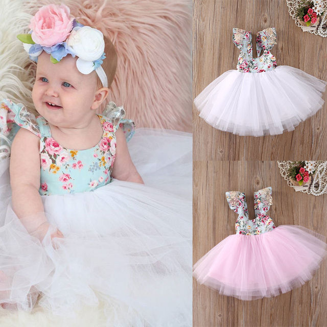 bf1091a8610a Girl Dresses Party Ball Gown Formal Flower Cute Fancy Kids Baby ...