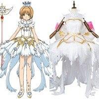 Cardcaptor Sakura Cosplay Clear Card Sakura Kinomoto Costume Snow Angel Dress Adutl Women Full Suit Halloween Cosplay Costumes