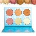 Destacando DE'LANCI 6 Colores Brillan Kit Polvo Highlighter Bronceador Paleta Nueva Highlight y Contour Paleta de Cosméticos de Maquillaje