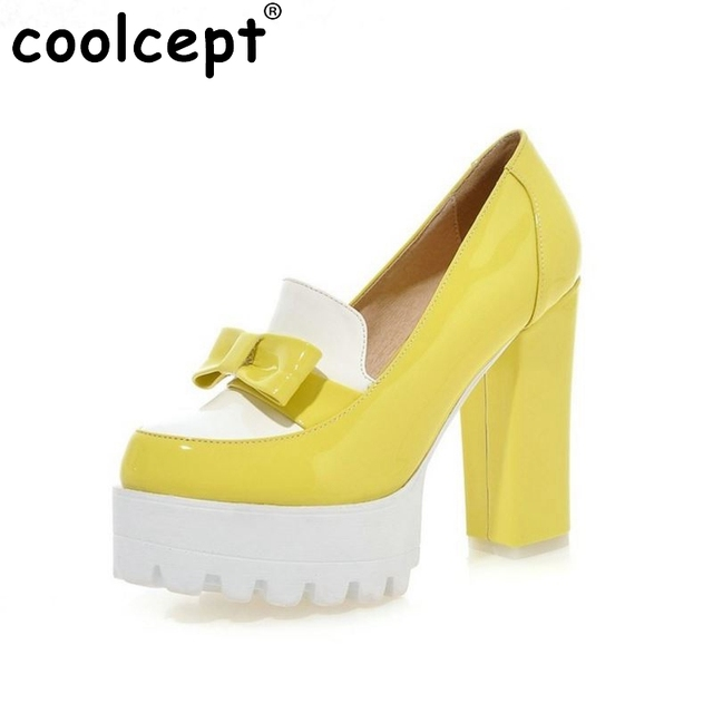 size 32-42 women bowtie bowknot ankle strap pumps platform square heel round head footwear stylish heeled shoes P23098