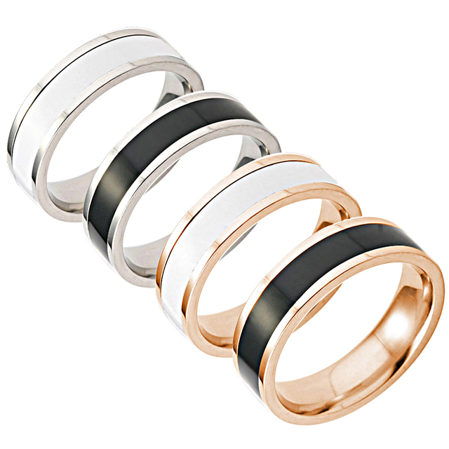 LNRRABC Classics Simple Black/White Couple Ring Size7. 8.9.10. Stainless Steel T