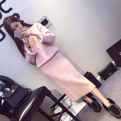 European Station Autumn And Winter Women Goods Slim Knit Hip Sweater Two Dress Six Color Pure