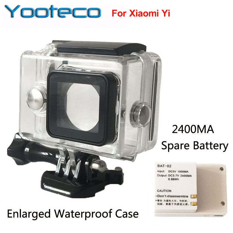 For Yi Sport Camera Accessories External Spare Battery + Enlarged Waterproof Housing Case Box
