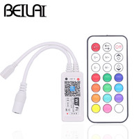 BEILAI DC 12V 24V Mini WIFI LED RGB Controller With RF 21Key Remote Control For SMD 5050 RGB LED Strip By Smartphone operation