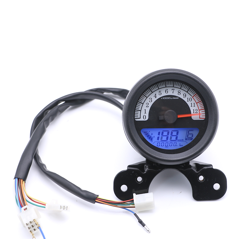 12v Multifuntion LCD Digtal Speedometer Odometer Tachometer Fuel Guage Motorcycle Universal Scooter Offroad Cafe Racer old school motorcycle gauges