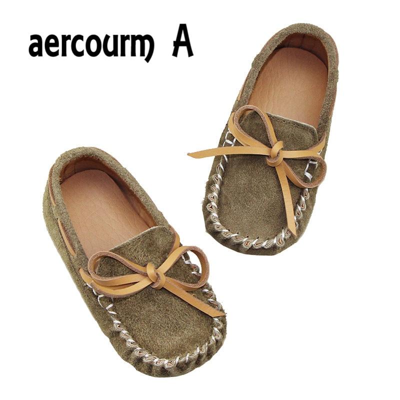 aercourm A New Arrival Autumn Anak Perempuan Sepatu kupu-simpul Sepatu Kulit Asli Bernapas Sepatu Anak-anak Perempuan Sneakers