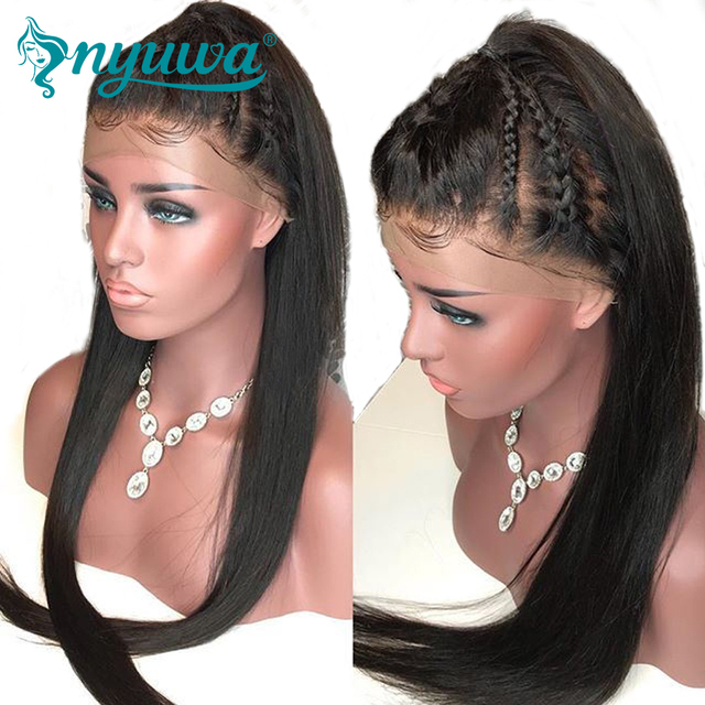 NYUWA Pre Plucked Glueless Full Lace Human Hair Wigs With Baby Hair 130% Density Straight Brazilian Remy Hair  Wigs For Women