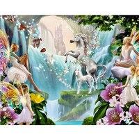 Unicorns und elfen 5D diy diamant stickerei VOLLER diamanten malerei kreuzstich religiöse mosaik muster bild home decor geschenk