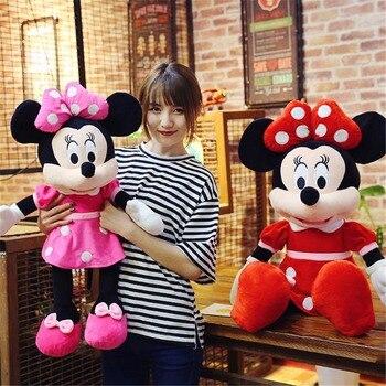 2 adet/grup 40cm Süper Kawaii Mickey Mouse ve Minnie Mouse Peluş Karikatür Yumuşak Şekil Oyuncaklar Dolması Bebekler noel hediyesi Için çocuklar